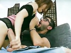 PORN2SdotCOM - Big Ass Girl Blowjobs a Big Dick on Sofa