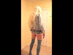 Blonde slut in denim thigh boots
