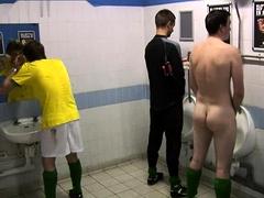 Horny voyeur captures sexy amateur boys in a public toilet