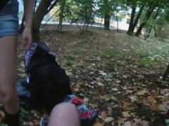 Pretty euro pulled and POV screwed outdoors