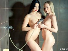Playful hotties Sicilia and Taissia Shanti are fucking with a red dildo