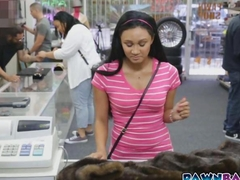 Shy and insecure latina babe slammed in pawn shop