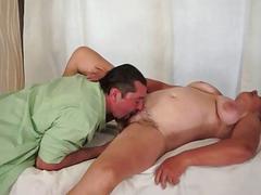 Horny guy fucks chubby hairy granny