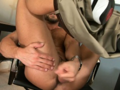 The professor decides to take a magazine and stroke his cock