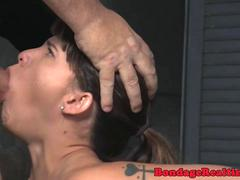 BDSM submissive gagging hard on masters cock
