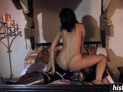 Brunette babe has fun with a dick