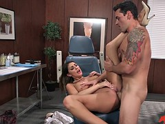 busty doctor august ames gets fucked on a dentist's chair