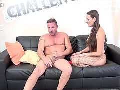 Hottie in sexy fishnets, insane casting couch porn experience on cam