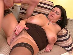 Chubby mature leaves the nephew to fuck her good