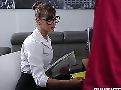 Gorgeous naughty secretary with glasses fucked hardcore as a punishment