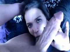 Amateur brunette sensually sucks a big cock POV style