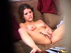 Beautiful girl with perky boobs masturbates on hidden cam