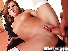 Shaved slut in white stockings receives creampie