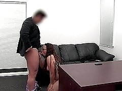 Chubby beauty blows and bangs for her first porn scene