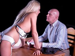 Rich blonde in white stockings Chelsey Lanette fucks with an old man
