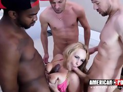 Busty blonde woman, Angel Wicky got doublefucked while she as trying to suck a big, black cock