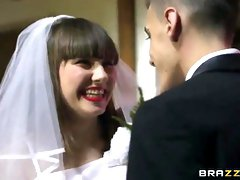 Adorable damsels are screwing a splendid boy who just got married, as a wedding bounty