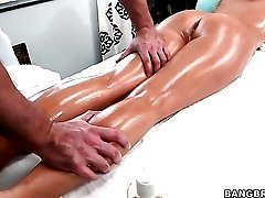 Sexy oil massage with naughty cunt fingering