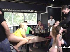 Big tits brunette fucked in public caffe