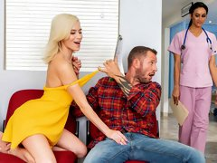 Spicy miniature blonde Kiara Cole jumps on a very long dick