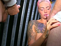 Huge melons tattooed milf milks dry two hard dongs