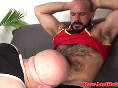 Hairy bald bear barebacks chubs balss deep