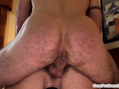 Bald mature bear covers stud with jizz