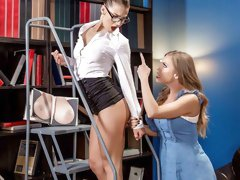 In the library that employs big booty brunette Evelin Stone, speaking is frowned upon, but moans and orgasms are encouraged