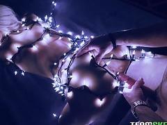 Blonde bimbo wrapped in christmas lights gets her twat slammed