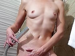 Beautiful old lady masturbates in the shower