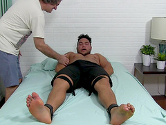 Gagged black dude ass fucked in kinky gay play