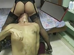 Filipina in lingerie and stockings gets good pussy licking.