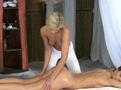 Foxy blonde lesbian babe getting an erotic massage