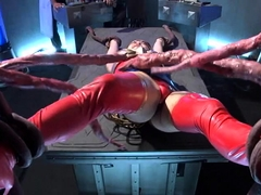 Busty Japanese hottie in uniform gets tied up and used