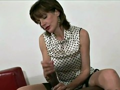 Sonia jerks a white cock, then sweeps bbc
