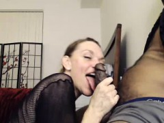 Milf Sucks A BBC And Licks His Asshole On Cam