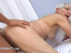 Granny with short hair sucks dick and fucks once again