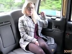 Lovely Ember sucks her drivers big cock and gains facial