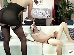 Sexy blonde TS Jenna Tales fucks her hot bf using her horny cock and huge toy
