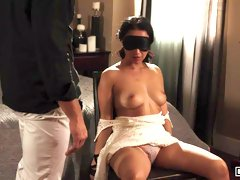 Submissive angel Vicki Chase gives a gorgeous blowjob in the bedroom