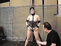 Kinky amateur bondage and whipping of Lena