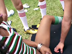 transsexual football players gang bang outside cling