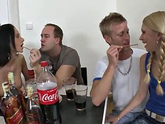 horny ladies have a group sex with guys