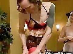 Skinny tattooed guy fucked by blonde dominant mistress BDSM movie