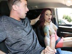 Redhead stripper Monique Alexander fucks with a young man