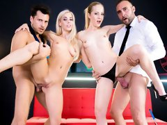 Angelic blonde Nesty opens her lovely holes in a hot foursome