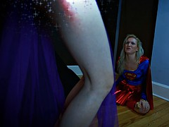 Kinky super girl is tied up and in trouble