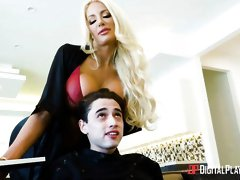 Spicy MILF with huge boobs Nicolette Shae makes his cock so hard