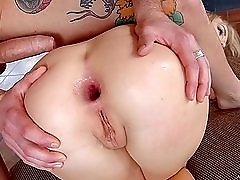 Gaping anal sex with a slutty European blonde