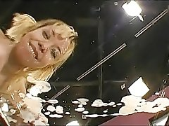 German retro blonde slut gets peed in her mouth while having classic threesome fuck